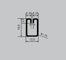 Einfassprofil aus Edelstahl 1.4301 geschliffen Korn 240 | Länge: 3000 mm | Rechteck-Profil, E 12-18 mm | Schlitzbreite: 1,3 mm