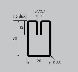 Einfassprofil aus Aluminium | Länge: 3000 mm | Rechteck-Profil, E 20-30 mm | Schlitzbreite: 1,7 mm