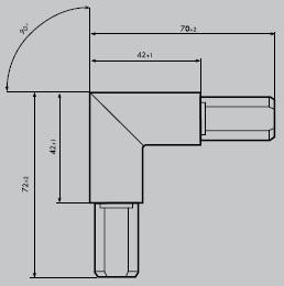 Eckverbinder aus Edelstahl 1.4301 geschliffen | Eckverbinder eckig 90° | für Einfassprofil E 20/30