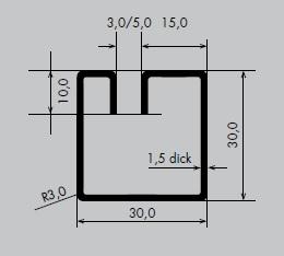 Einfassprofil aus Edelstahl 1.4301 | Länge: 3000 mm | Quadrat-Profil, GEV 30-30 mm | Schlitzbreite: 3 mm