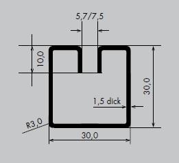 Einfassprofil aus Edelstahl 1.4301 | Länge: 3000 mm | Quadrat-Profil, Q 30-30 mm | Schlitzbreite: 5,7 mm