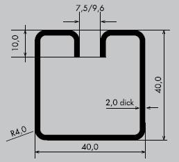 Einfassprofil aus Stahl blank | Länge: 3000 mm | Quadrat-Profil, Q 40-40 mm | Schlitzbreite: 7,5 mm
