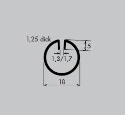 Einfassprofil aus Aluminium | Länge: 3000 mm | Rund-Profil, R 18 mm | Schlitzbreite: 1,7 mm