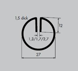 Einfassprofil aus Aluminium | Länge: 3000 mm | Rund-Profil, R 27 mm | Schlitzbreite: 1,7 mm