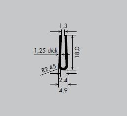 Einfassprofil aus Edelstahl 1.4301 | Länge: 3000 mm | U-Profil, U 1,3 mm | Schlitzbreite: 1,3 mm